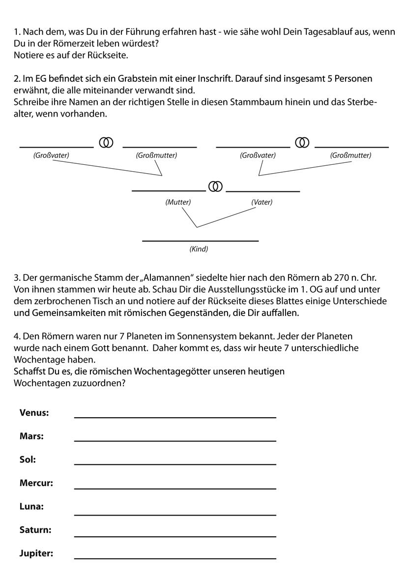 Römermuseum Güglingen - Materialien